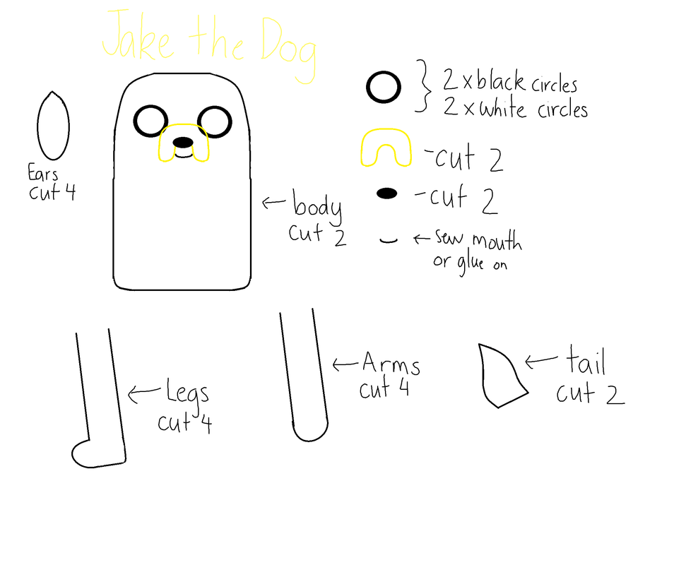 How to make jake the dog here is how to make jake the dog 1 cut out the template with the felt colours 2 sew the white circle to the black circle using white thread maxwellsz